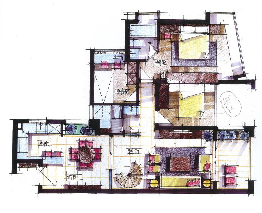 我的室内手绘效果图|室内设计|空间|steve_william