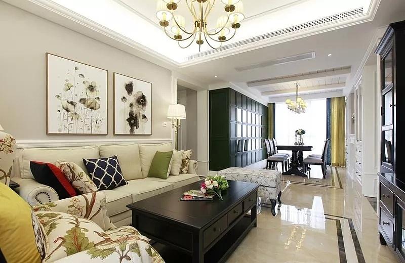 金沙湖高尔夫观邸120平现代美式风格三室两厅装修案例图片
