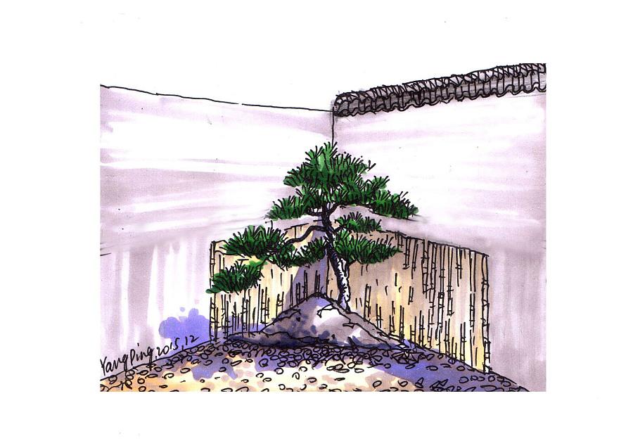 私家花园景观手绘|景观设计|空间|lkyping - 原创设计