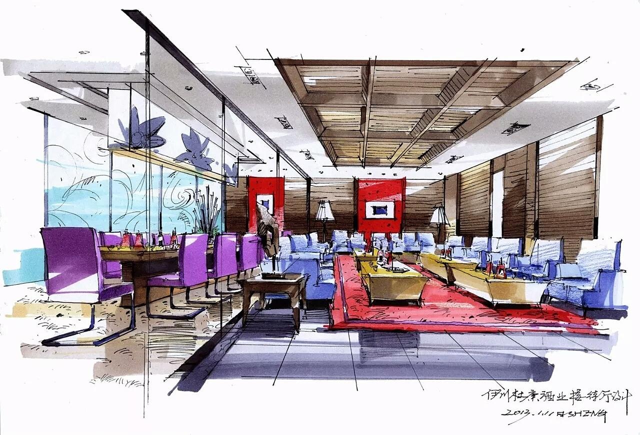 马克笔手绘艺术设计作品|空间|建筑设计|手绘艺术设计