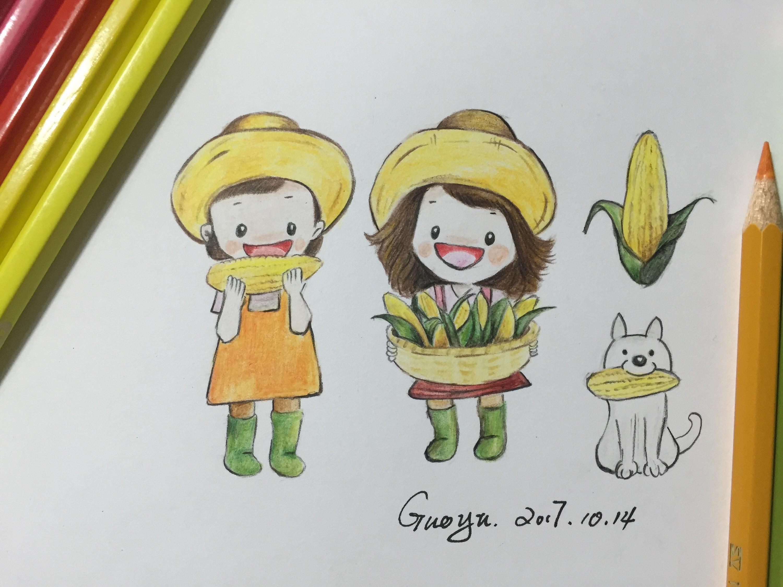 彩铅手绘两只小可爱