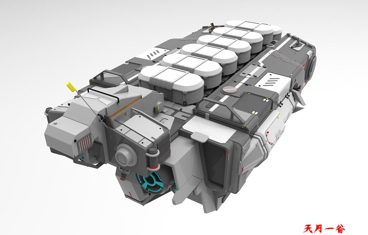 maya工业建模 宇宙飞船三维模型制作|三维|机械/交通