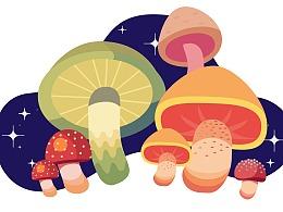 学习临摹蘑菇