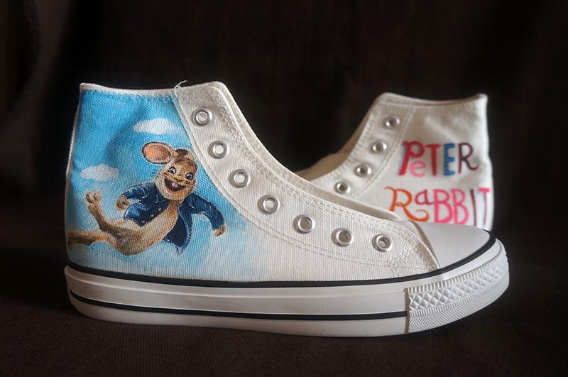 原创手绘高帮帆布鞋—peter rabbit