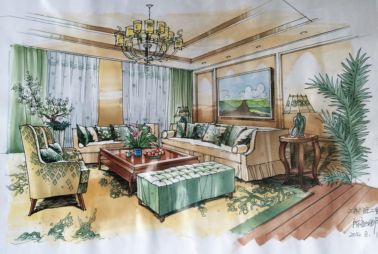 室内设计手绘效果图_室内手绘效果图