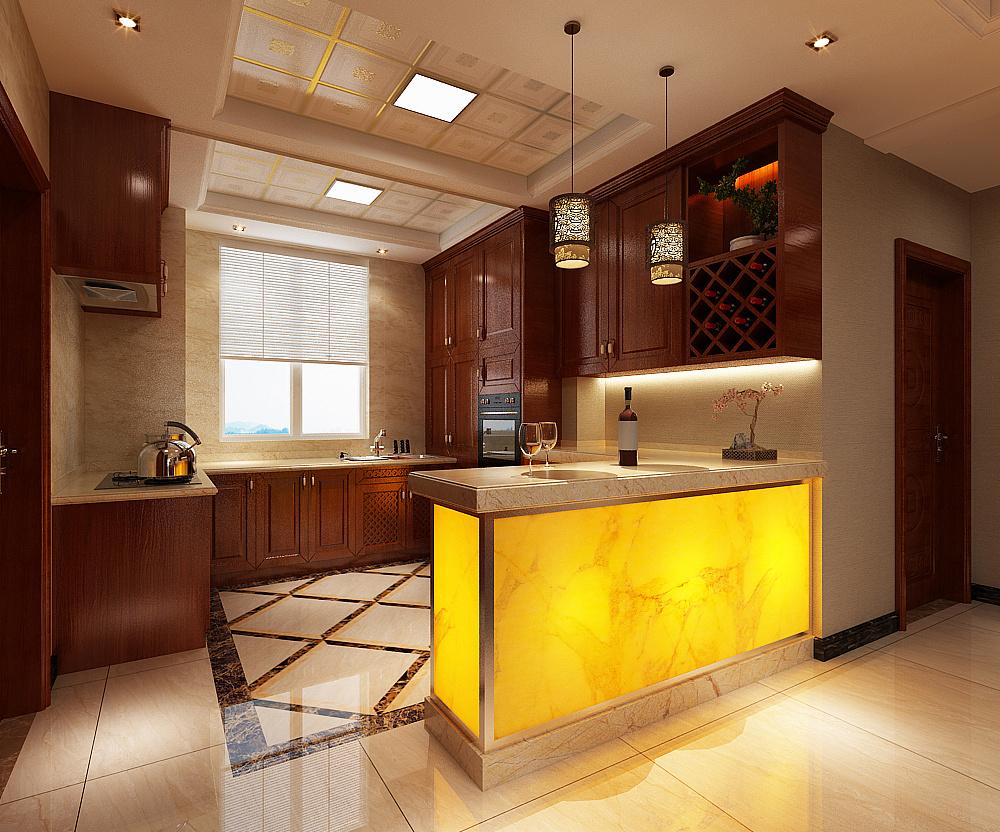 瀚唐220㎡四室两厅新中式风格装修效果图图片