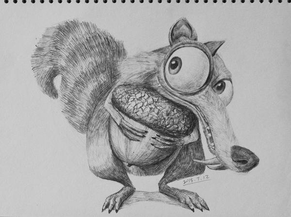 小学生动物素描作品