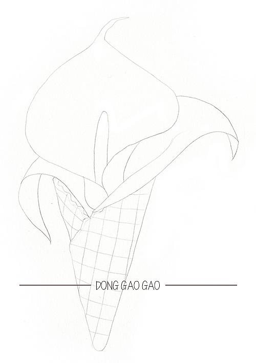 水彩手绘冰激凌花筒-马蹄莲