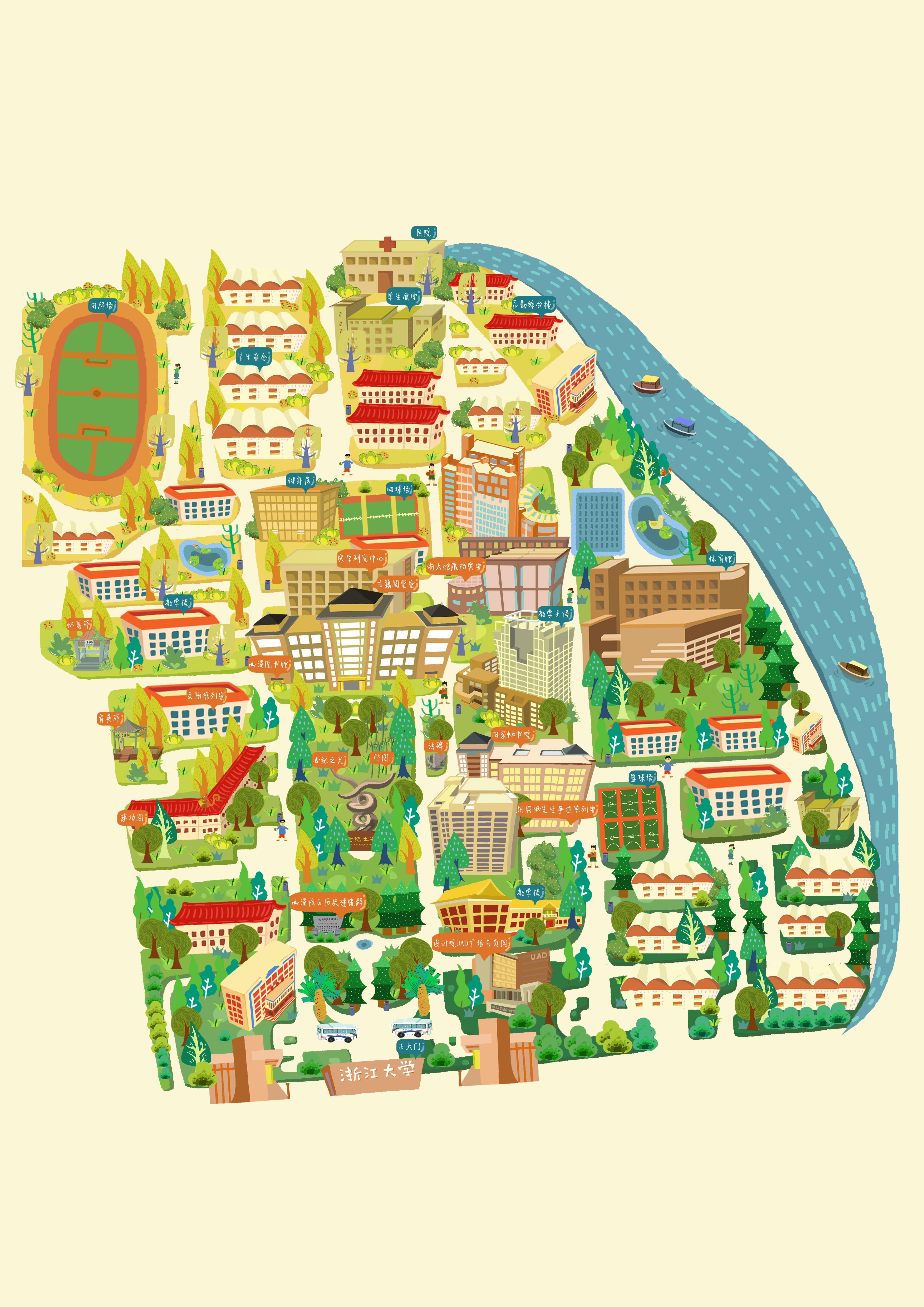 报创作的手绘大学地图,也是我第一个手绘版创作,我画的是浙大西溪校区