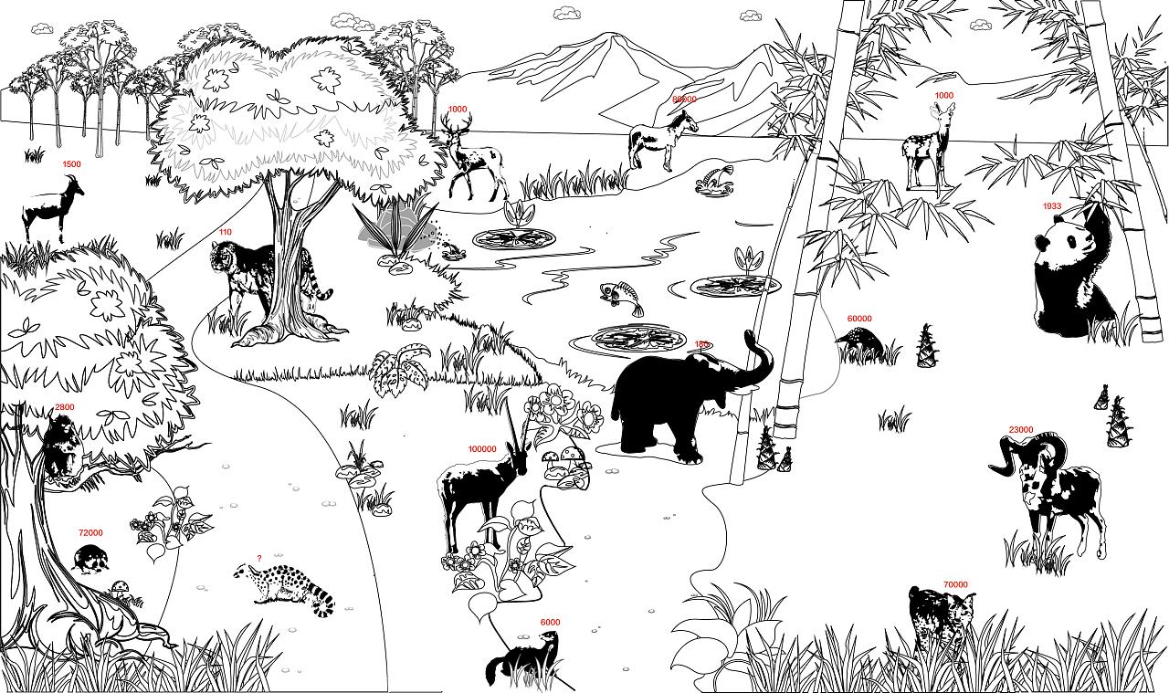 黑白森林 鹿 手绘