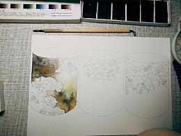 【水彩手绘】我的第一次陶艺设计图——鹳鳏作品