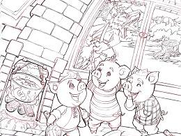出口的拼图产品-童话插画《三只小猪》草稿
