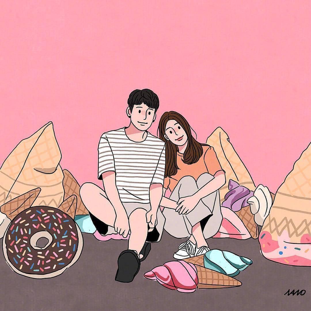 情侣头像|插画|涂鸦/潮流|白浩杰 - 临摹作品 - 站酷