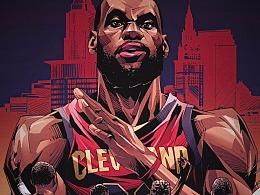 NBA总决赛勇士VS骑士,詹姆斯灭霸杜兰特死神篮球插画