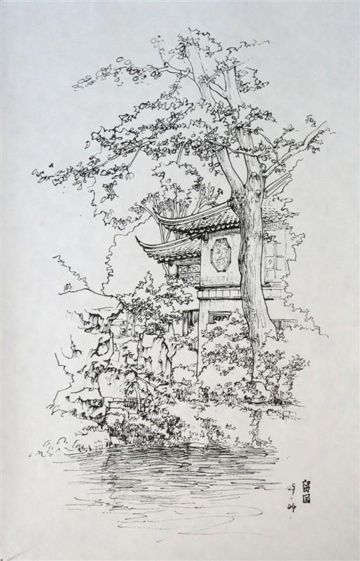 09年园林速写作品|钢笔画|纯艺术|艺鸣design
