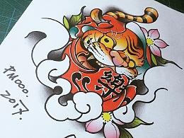 虎面达摩蛋纹身手稿