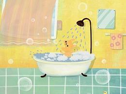 洗澡的狗狗
