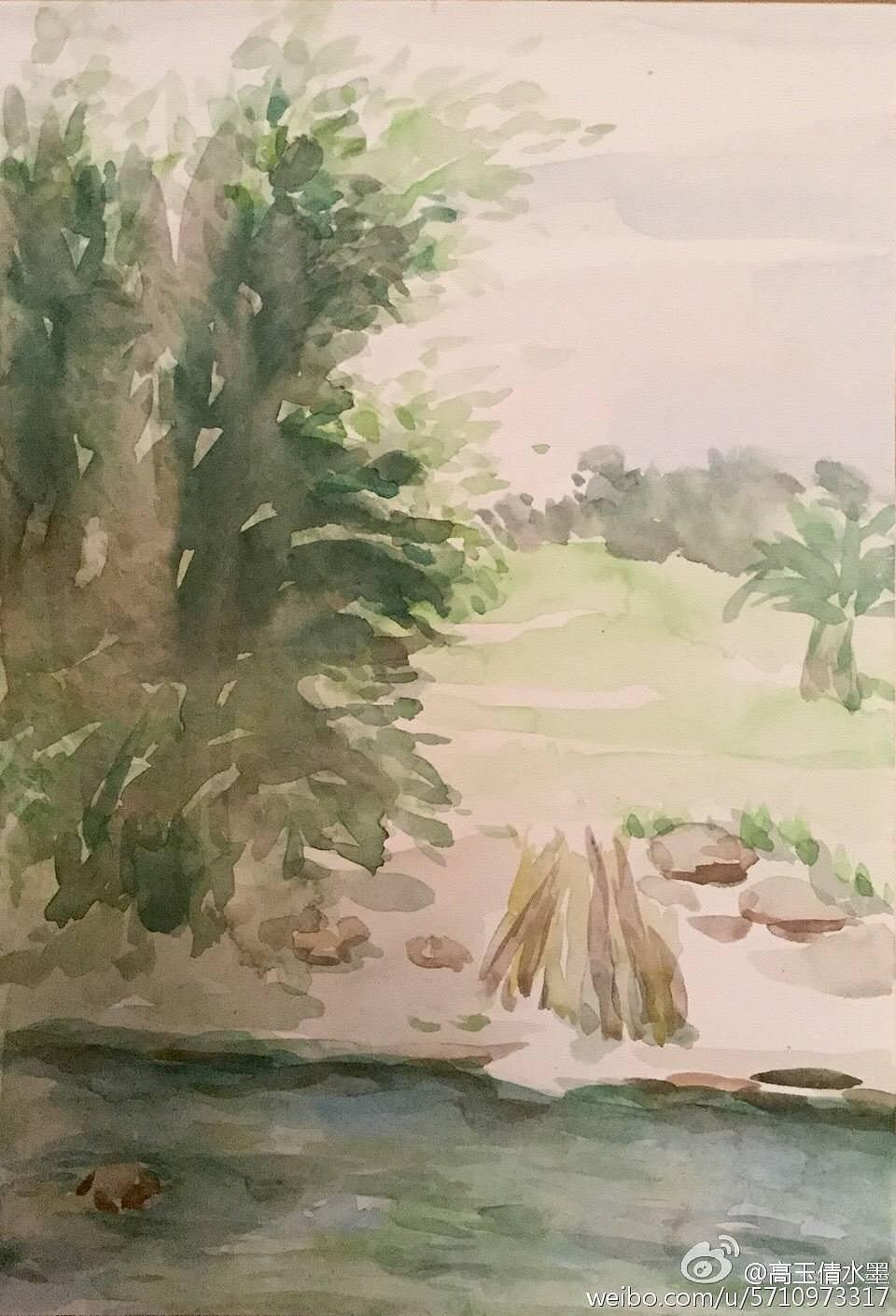 水彩风景写生图片