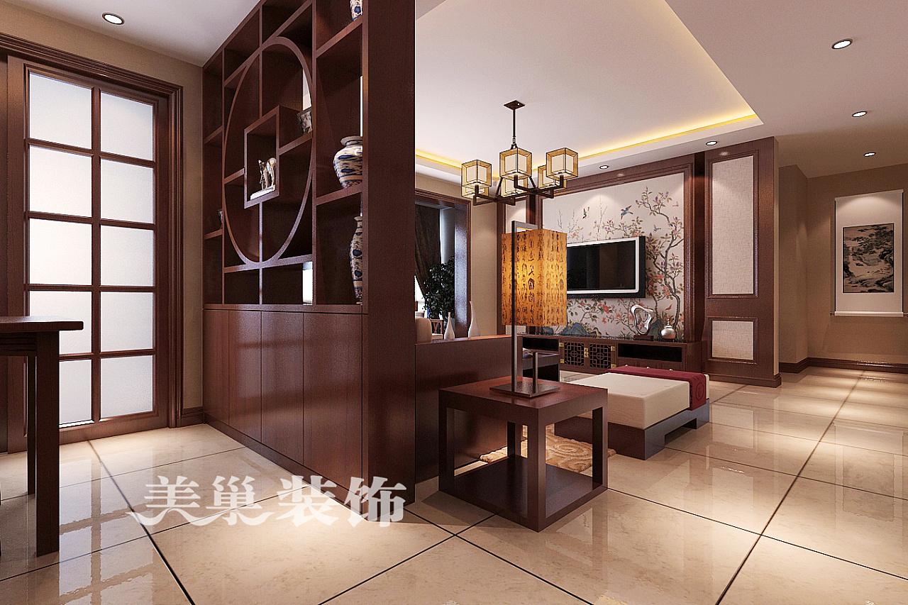 永威翡翠城130平三室两厅新中式装修案例——效果图图片