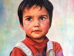 我的油画作品!Tajik 男孩油系列油画!