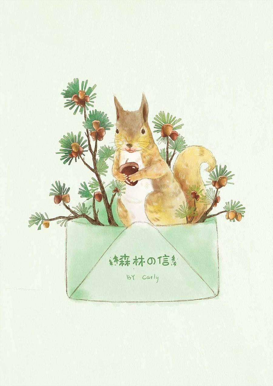 森林松鼠手绘插画