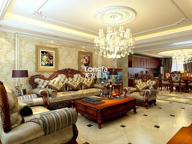 西美五洲天地装修-西美小区6-1户型四室232㎡欧式风格装修效果图-高贵图片