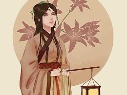 古风插画-娉娉袅袅十三余,豆蔻梢头二月初