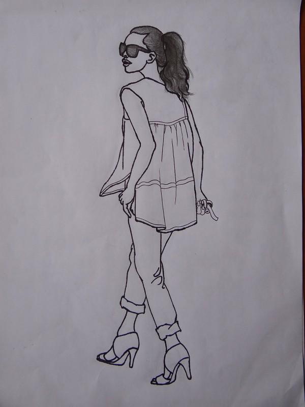 民族风礼服手绘图