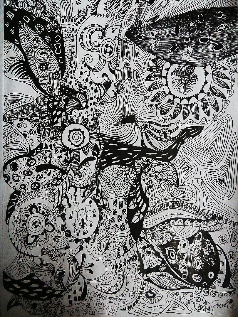 黑白装饰画花图片