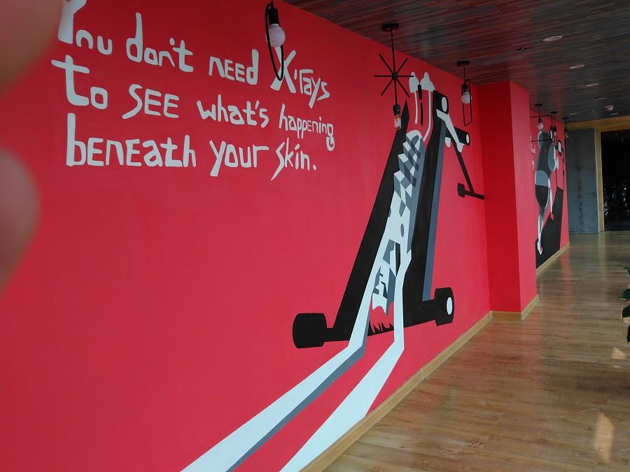 太原健身房彩绘墙绘手绘墙