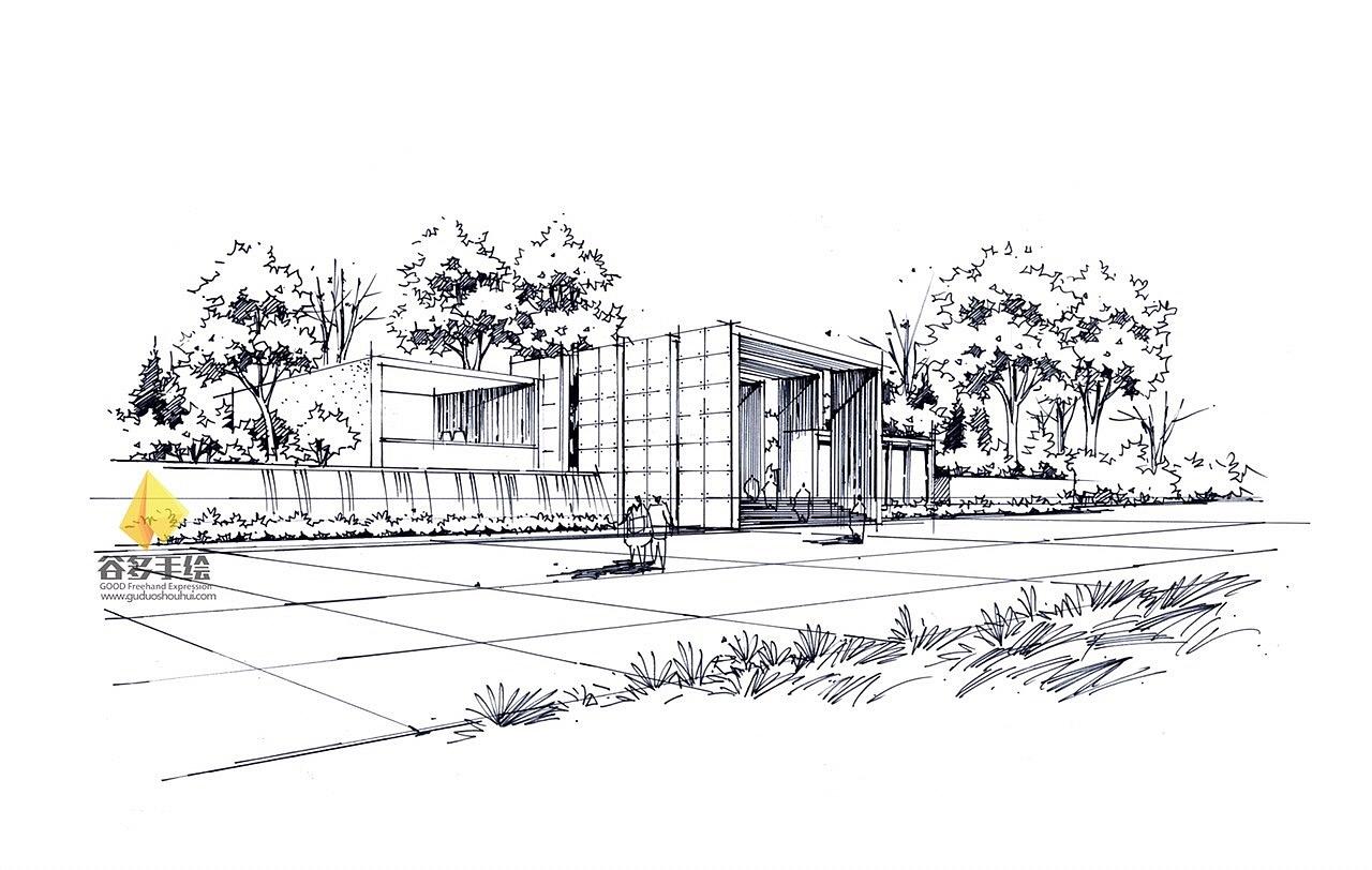 建筑手绘线稿|空间|建筑设计|谷多素筑人 - 原创作品