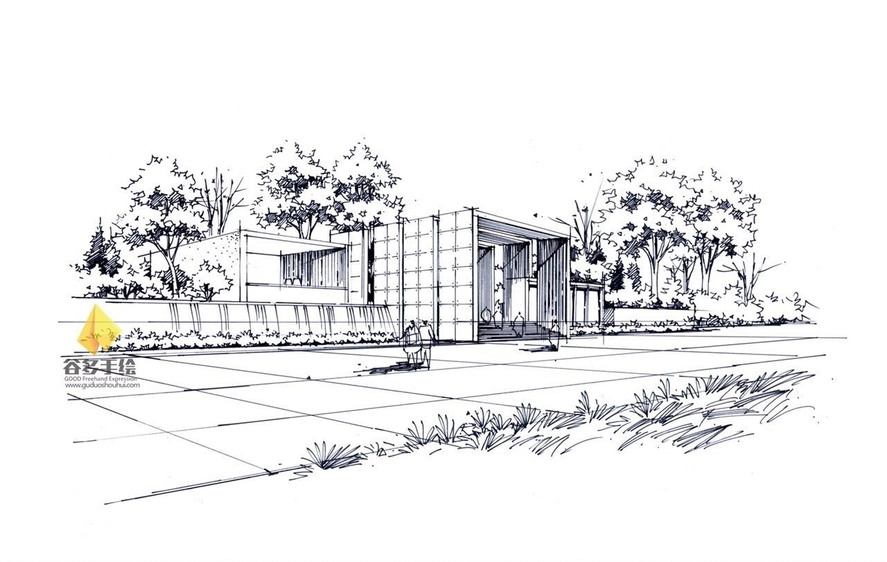 建筑手绘线稿