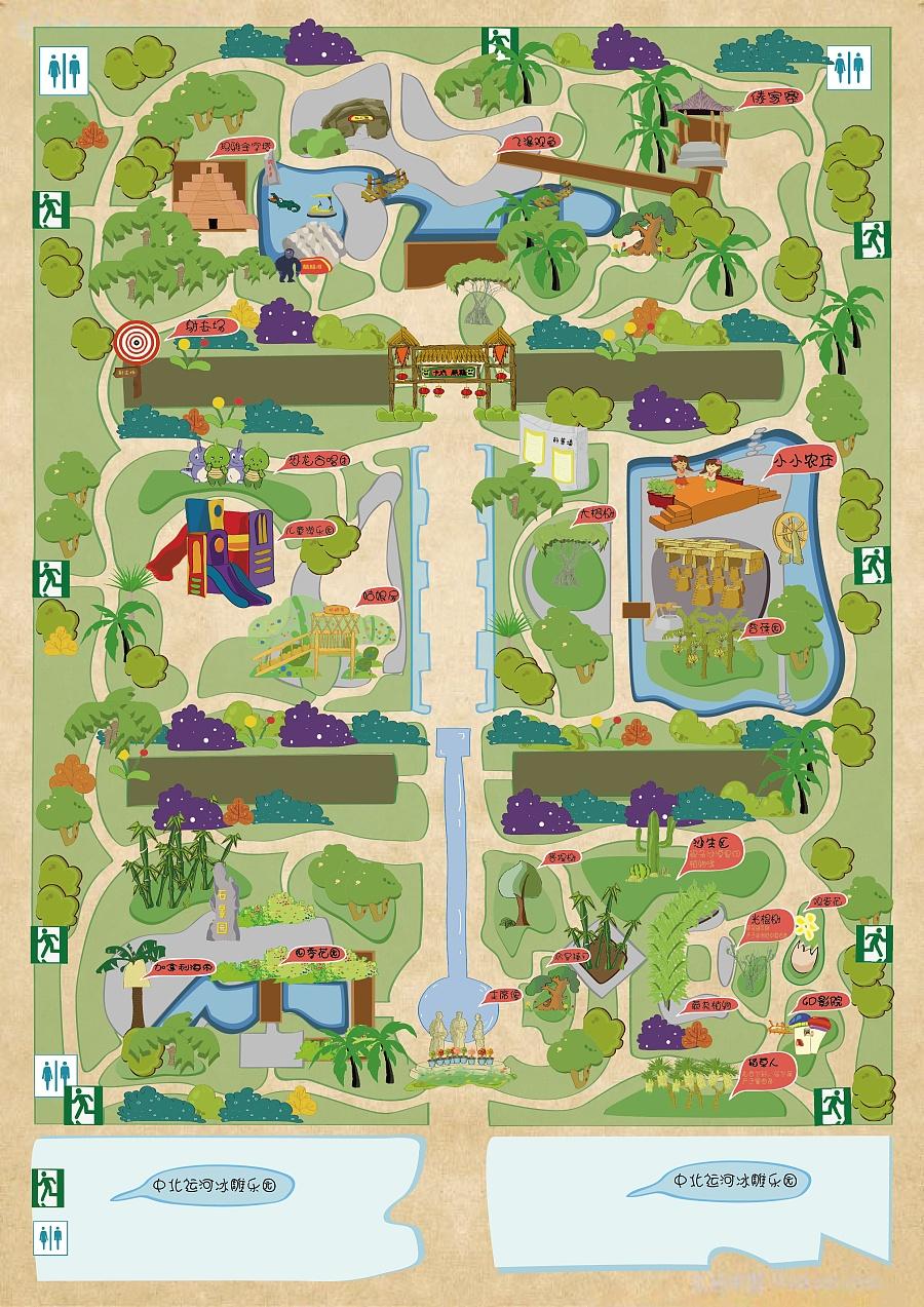 手绘地图——植物园|商业插画|插画|ly1203