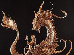 台湾原型师PKking《九天衡》系?#23567;?#19996;宫青龙 铜雕