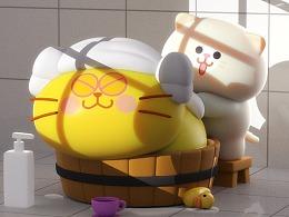 洗澡要戴头巾的猫