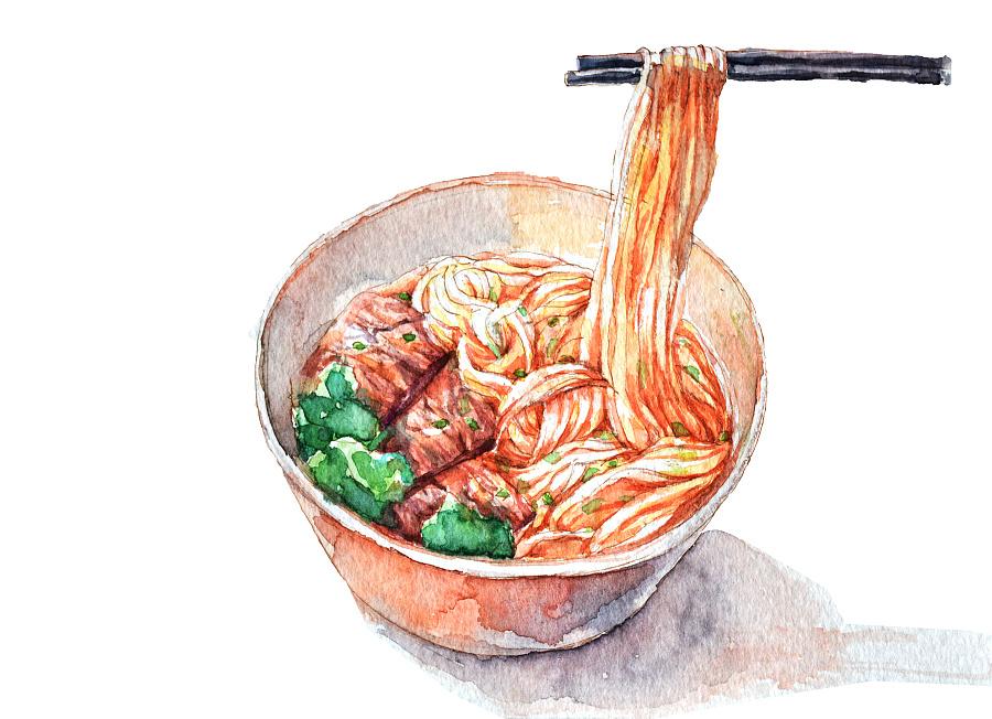 兰州美食手绘插画