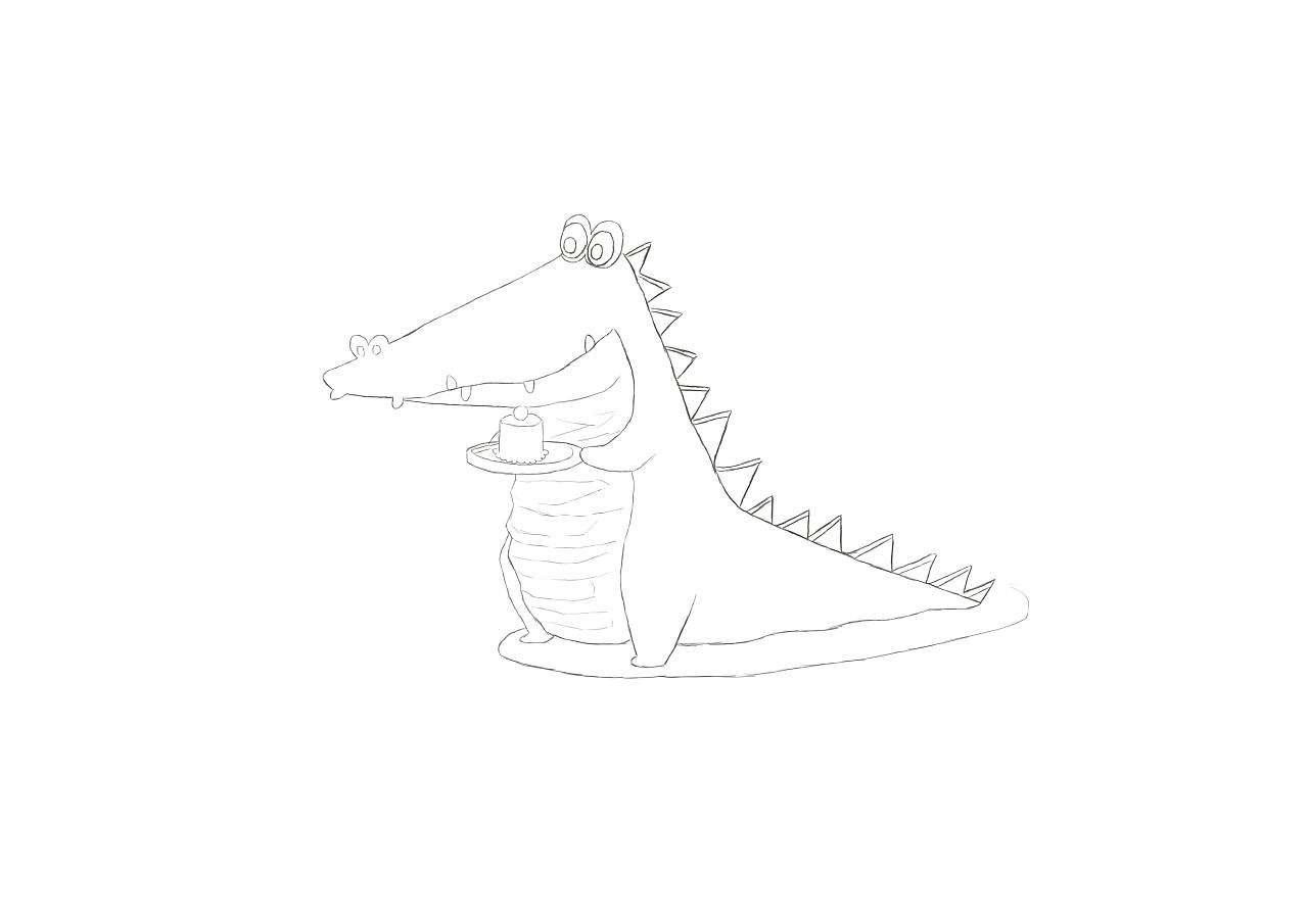 小鳄鱼平面手绘临摹练习