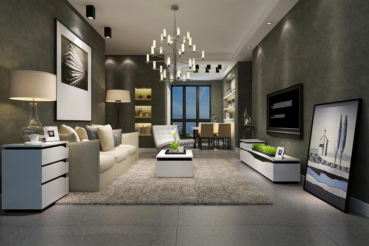 3d效果图_家具3d效果图-电视柜,茶几,沙发,斗柜