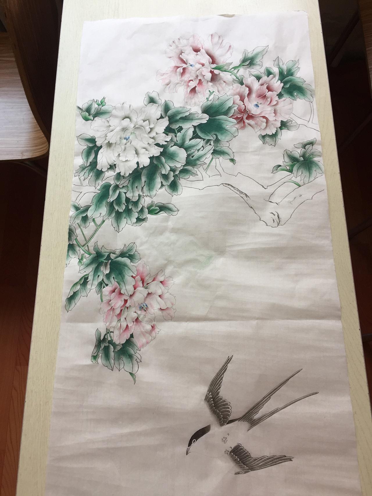 工笔画习作 牡丹燕子 有步骤