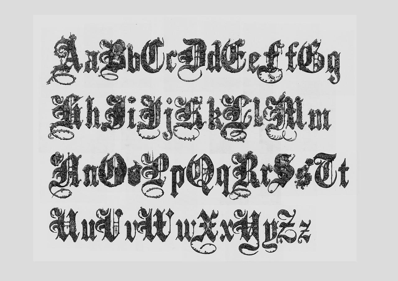 手绘哥特体字母