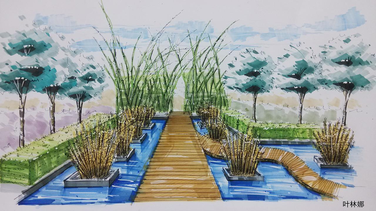 马克笔手绘|空间|景观设计|elinanana - 原创作品