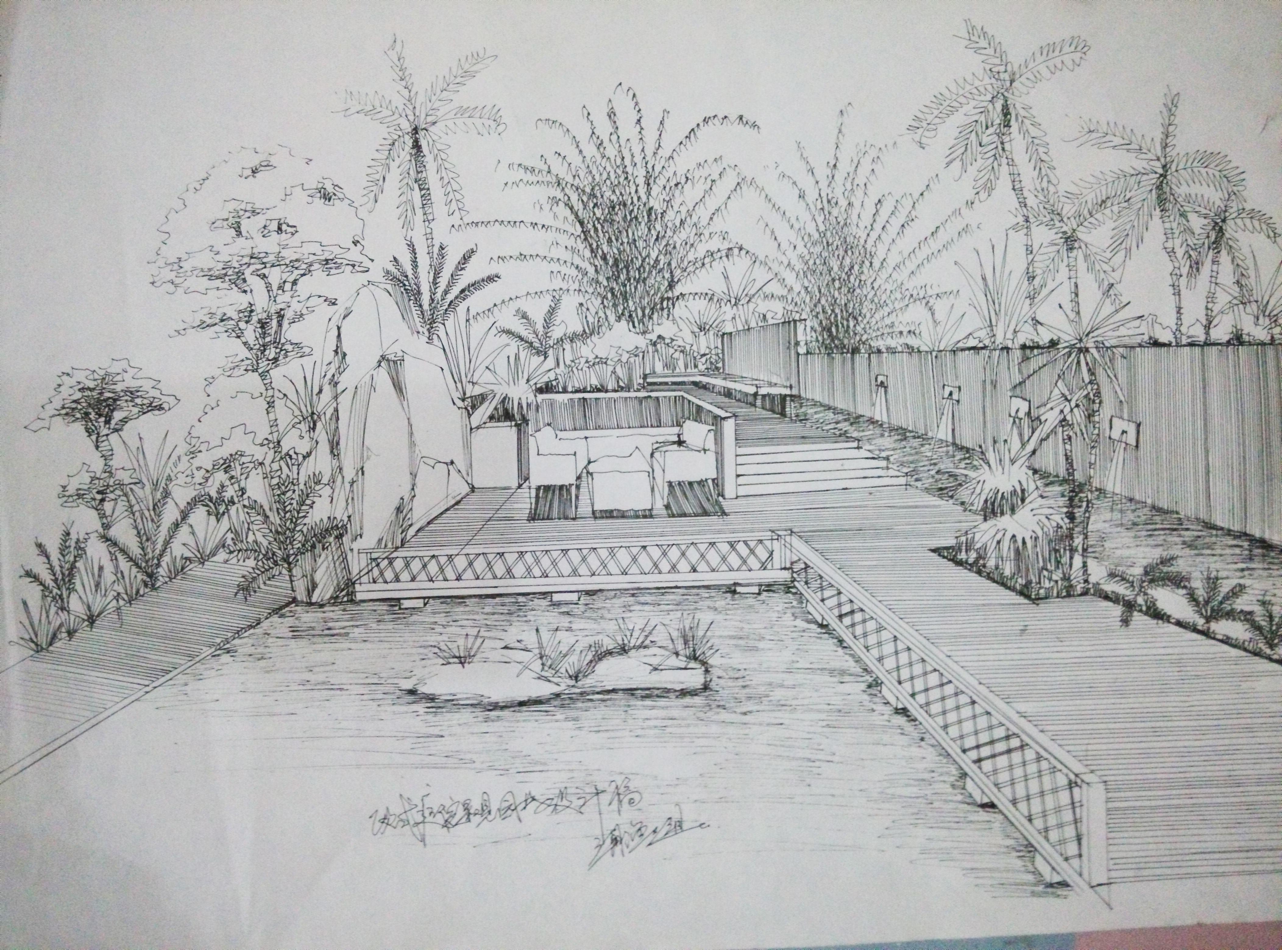 快速手绘园林私家花园手绘表现