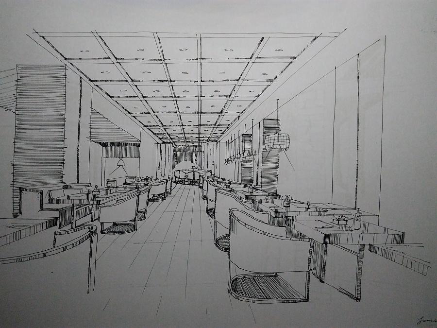 环艺手绘线稿室内