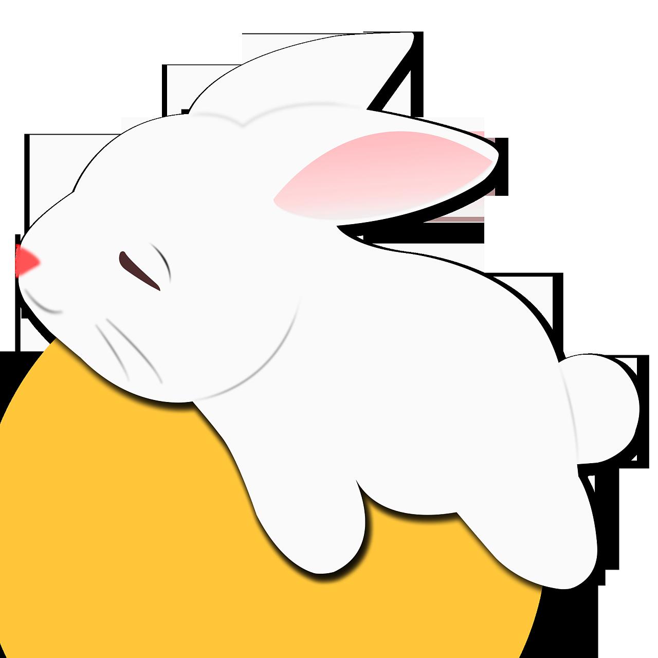 中秋节手绘玉兔装饰元素