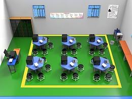 教室实训场地渲染图