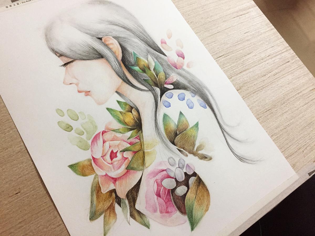 彩铅手绘|纯艺术|彩铅|有点点小矜持丶 - 原创作品