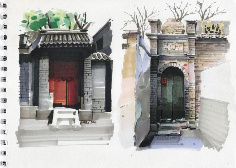 杭州法云安缦酒店马克笔手绘图