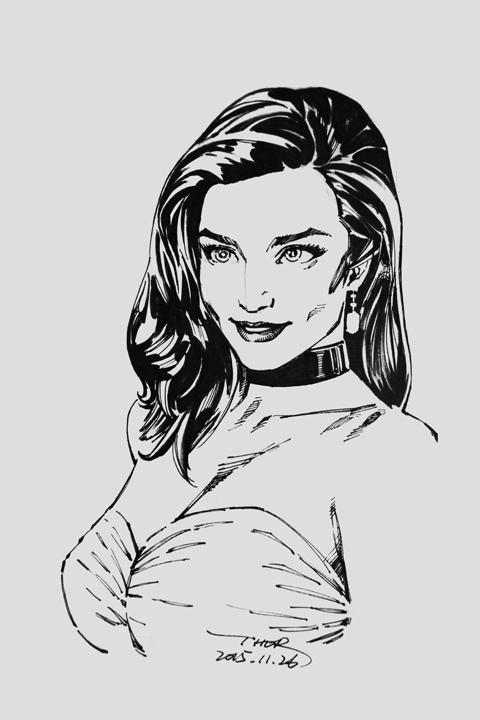 钢笔手绘漫画美女