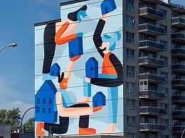 Cecile Gariepy受邀为加拿大蒙特利尔建筑绘制大型壁画