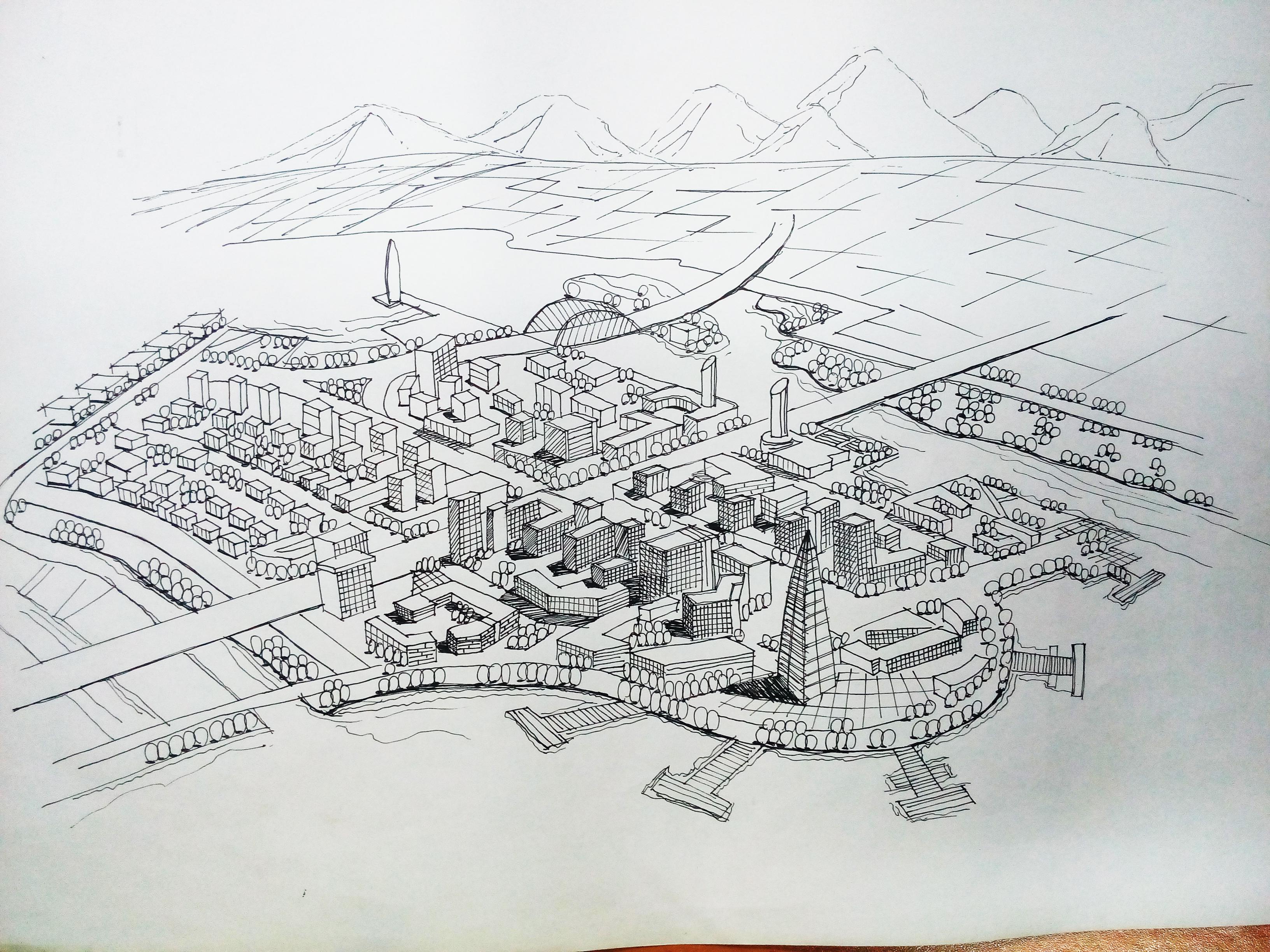 规划类的手绘图东西比较多,建筑在整张图中